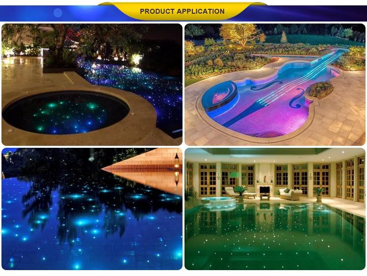 Led Swimming Pool Light With Black Pvc Sheated Fiber Optic Cable ...