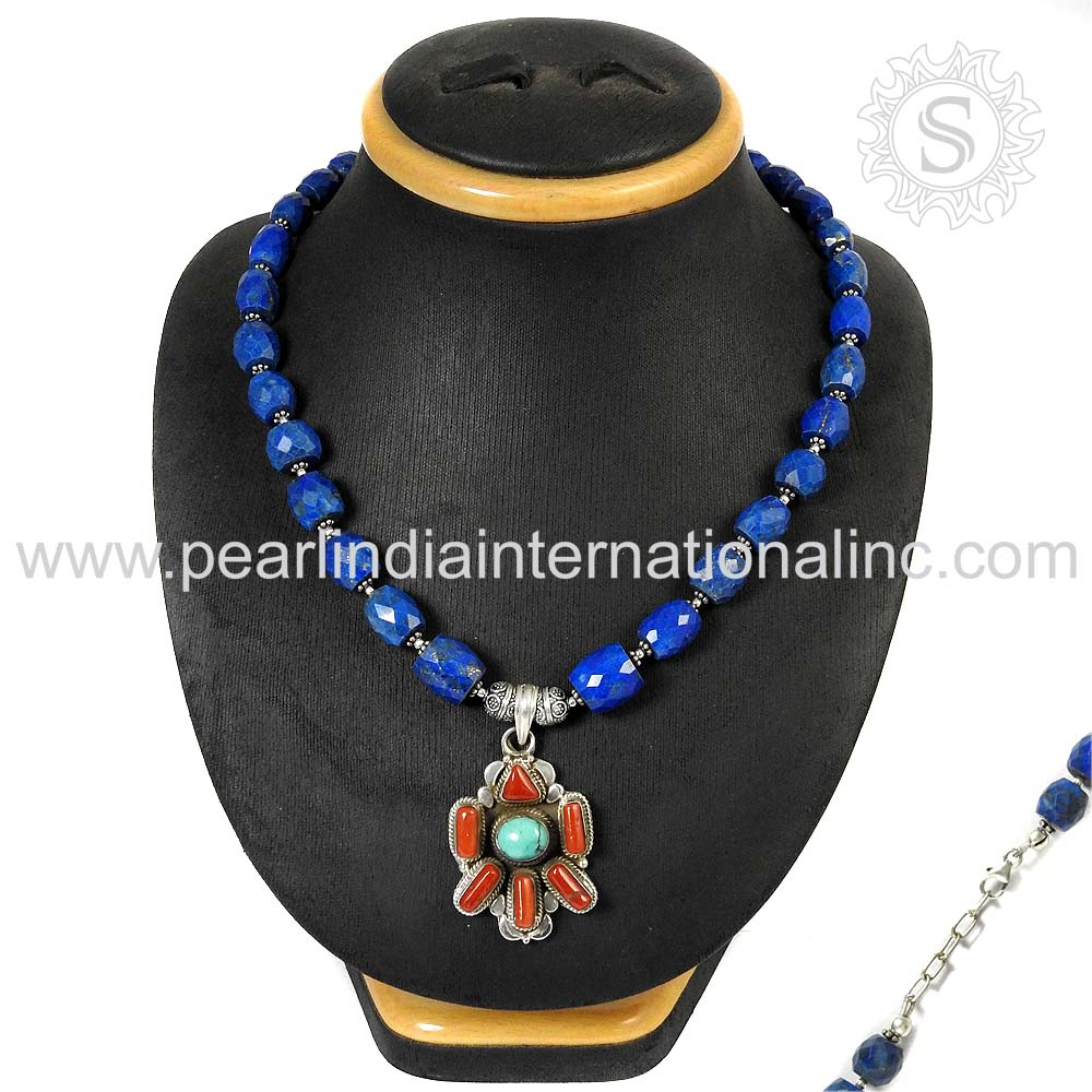Gorgeous Flower Beads Multi Gems Necklace 925 Sterling Silver Jewelry Wholesaler Jewelry Supplier