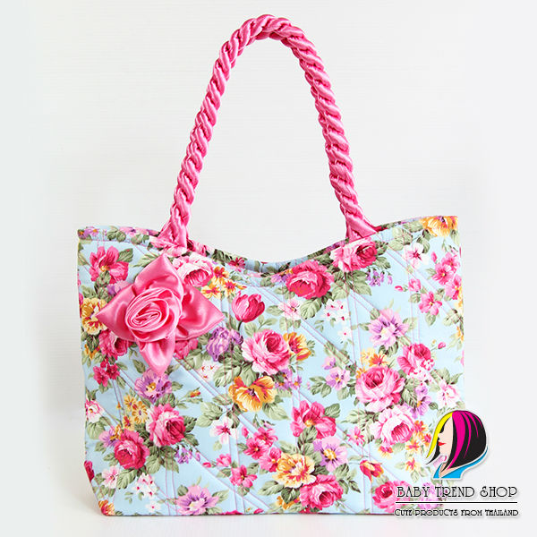 e4f8fdefc Handbags : Vintage Floral Ladies Handbags With Front Rose Ribbon And  Twisted Fabric Handle , Quilted
