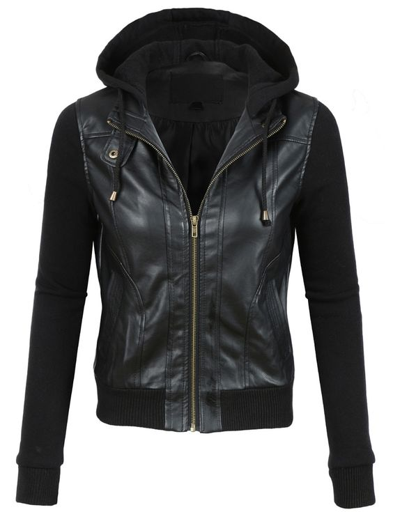 2016 Winter Hooded PU Leather women Bomber Jacket with Polyester Sleeves