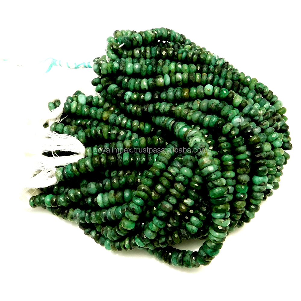 "Natural Emerald Gemstone Rondelle Shape Faceted Beads Full 10"" Strand 7 - 8 mm Loose Beads Gemstone"