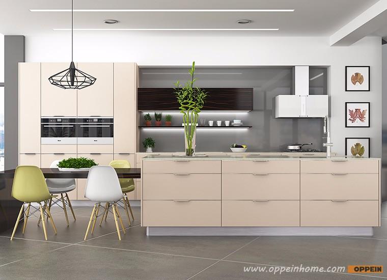 Oppein Modern Style Beige Laminate Kitchen Cabinet Free Used Cabinets