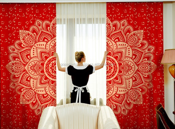 rouge ombre mandala rideaux indien 2017 m r indien hippie boh me cantonni res d cor boho chambre. Black Bedroom Furniture Sets. Home Design Ideas