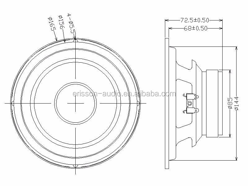 Professional 6 5 Inch 2 Ohm 50 Watt Fiber Glass Cone Midbass