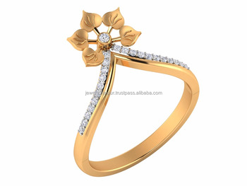 Latest Designs 18k Yellow Real Gold Certified Natural Diamond Fashion Floral Womans Engagement Ring
