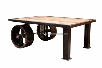 Classic vintage industrial wheel cart coffee table buy wooden coffee