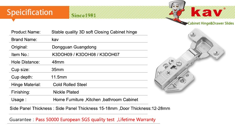 Kav Best Selling Hydraulic Cabinet Hinges 3d Adjustable Soft Close Hinges -  Buy Best Cabinet Hinges,Hydraulic Hinge For Cabinets,Soft Close Cabinet