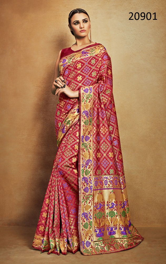RED COLOR TUSSAR SILK KANCHIPURAM ZARI JACQUARD WOVEN PARTY WEAR HEAVY BORDER SAREES