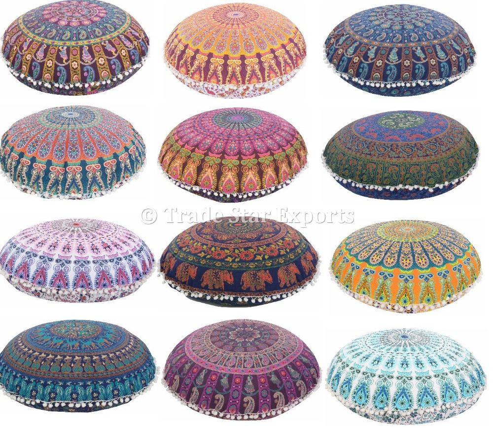 grand mandala tapisserie oreillers de plancher coton coussin rond point couvrir d coratif poufs. Black Bedroom Furniture Sets. Home Design Ideas