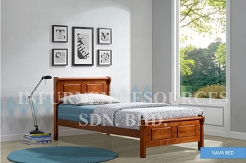 Vava Bed Wooden Bed Malaysia Furniture Single Bed Full Bed Queen Bed