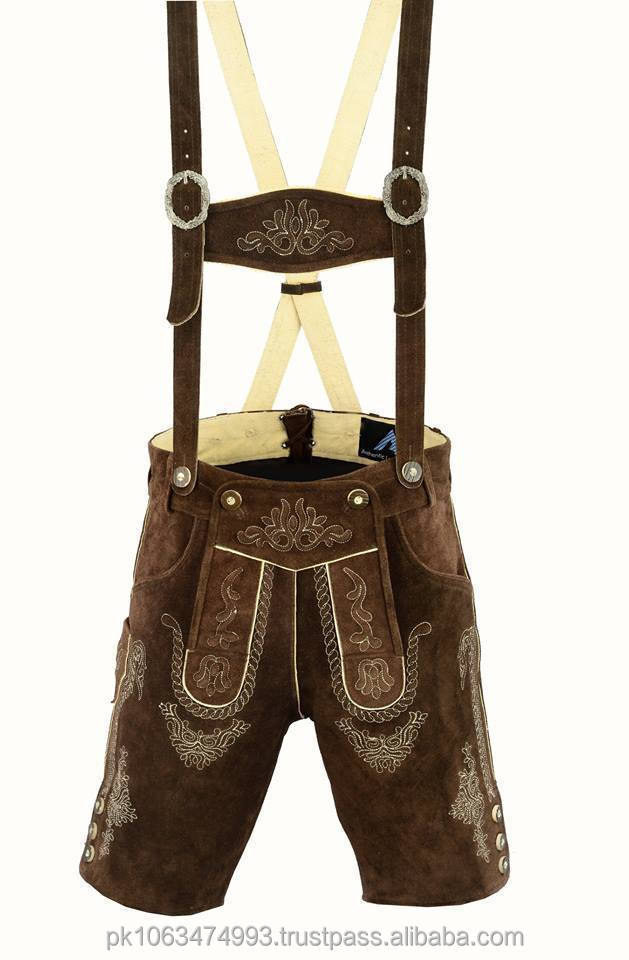 German bavarian authentic lederhosen men dark brown suede leather/mens leather suede jacket