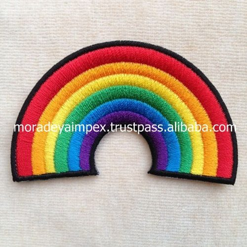 Rain Bow Embroidery Patches Natural Embroidery Badges 7 Colour Embroidery Patches
