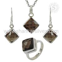 Wholesale Offering 925 Sterling Silver Jewelry Smoky Set Gemstone Silver Jewelry Supplier Online Sale