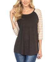 Ladies cotton/viscose striped raglan sleeve t shirts