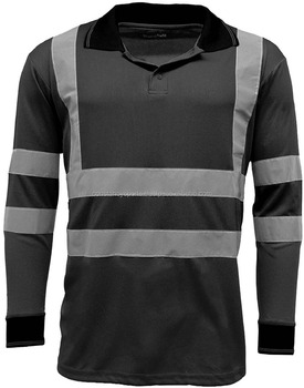e655504d4c27 Men's Polo Shirts High Visibility Long Sleeve Safety Work-wear Shirt ...