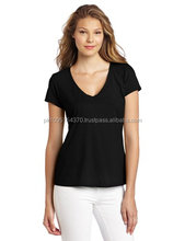 fashion v neck women black t shirt with your own customized printing