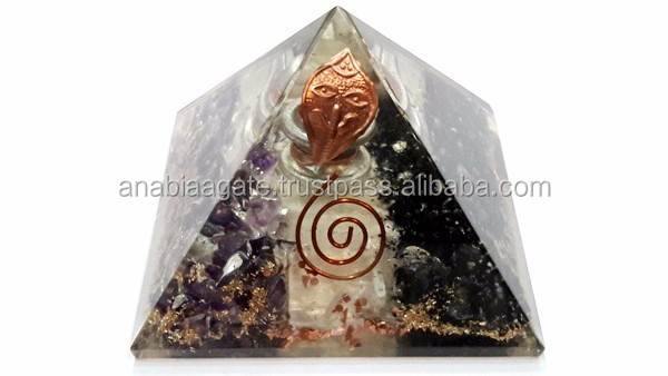 Orgone pyramid R.A.C Layerd Orgone Pyramid With Crystal Point | Wholesale Spiritual Orgone Product