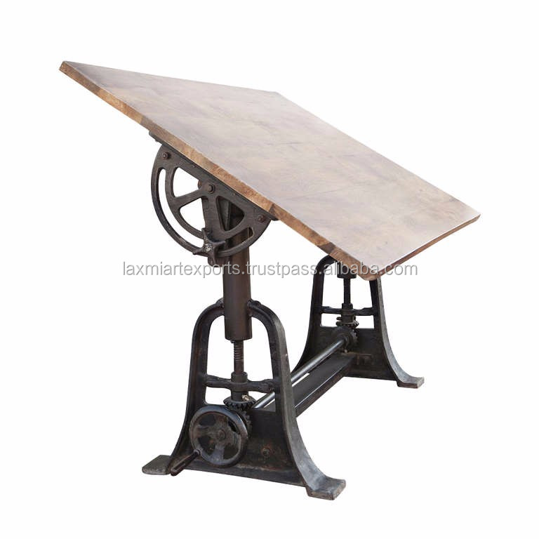 Professional Vintage Industrial Drafting Table Wooden Top