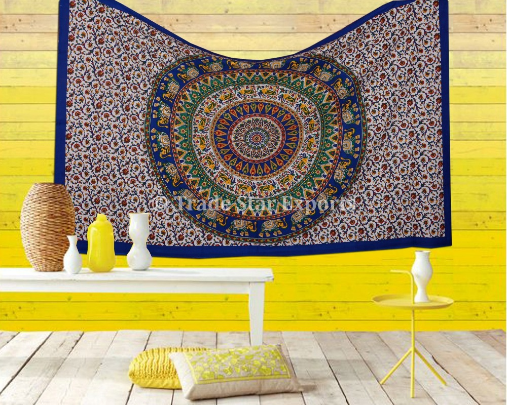 Indian Ethnic Mandala Tapestry Wall Hangings Cotton Fabric Bed Throw ...