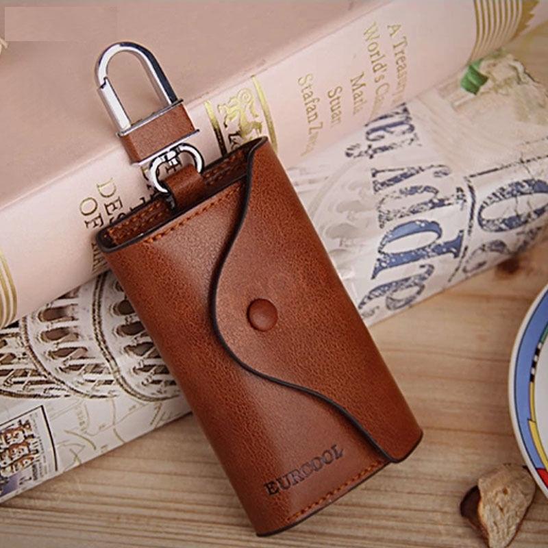 Pu Leather Key Chain Pouch Bag Case Holder Wallets Men Women Orange