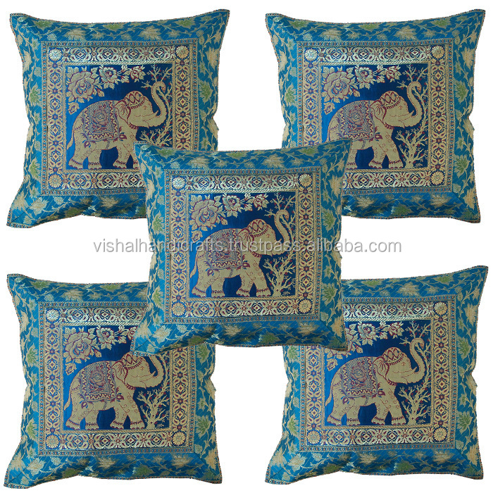Indian Silk Jacquard Cushion Covers Many Designs Colors Buy