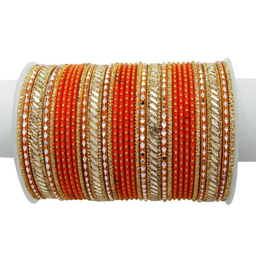 Gold Tone Orange Bangle/Kangan Set Bollywood Indian Women Jewelry Sz-2*8 - BSB1191