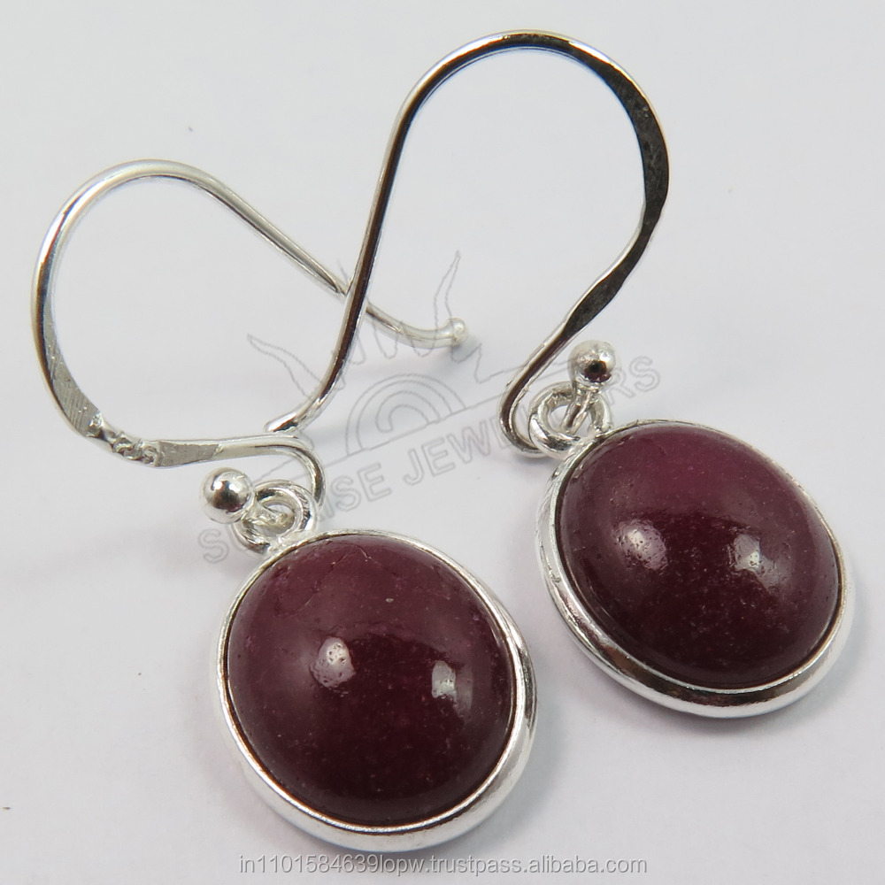 925 Solid Sterling Sliver Royal RUBY Oval Cabochon Gemstones Small Cute Earrings Indian Jewellery