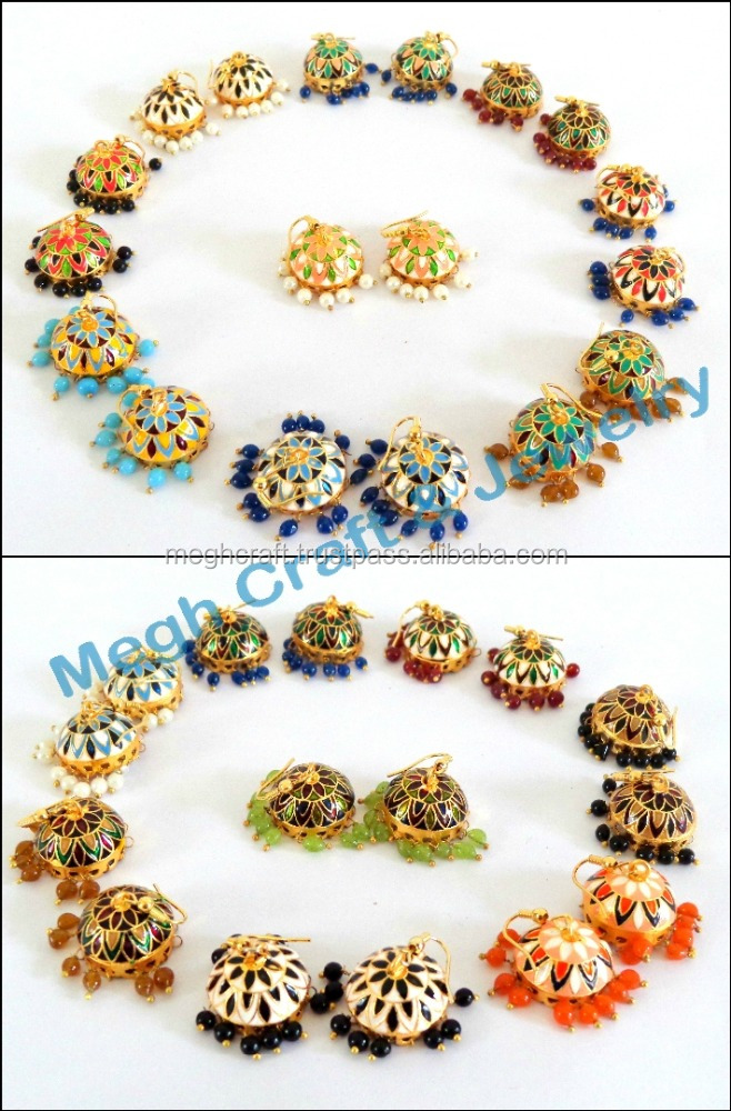 Online Whole Meenakari Jhumka Earring Traditional Handmade Earrings Gold