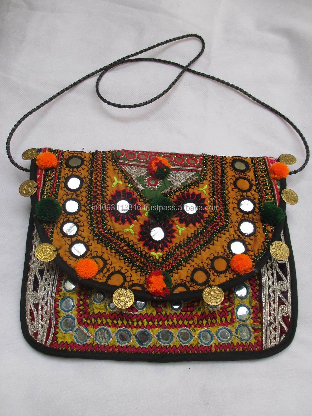 New Hand Embroidered Mirror Work Bag Vintage Banjara Ethnic Boho