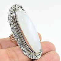 Breathtaking Blue Sheen Rainbow Moonstone Ring Offers 925 Sterling Silver Ring Wholesaler Handmade Silver Jewelry India