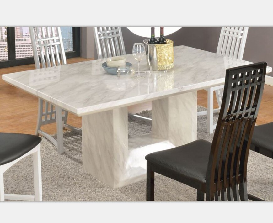 Italian White Dolomite Marble Round Top Dining Table