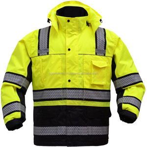 Men's Professional High visibility 3m reflective cordura jacket Custom made high quality safety jacket