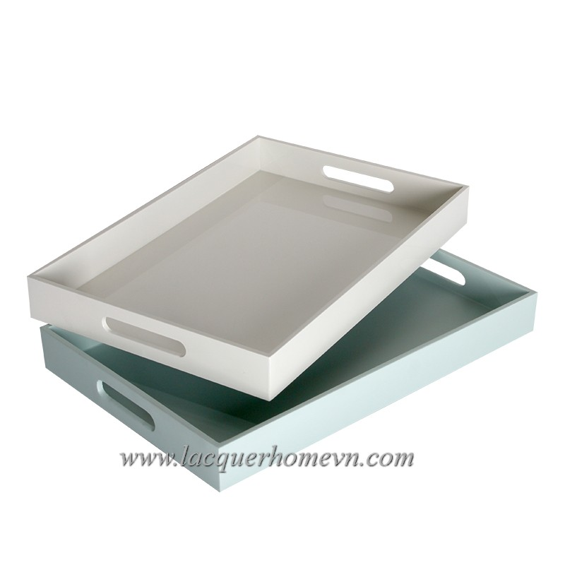 HT6181Vietnam MDF white lacquer serving tray with black rim - http://lacquerhomevn.com/
