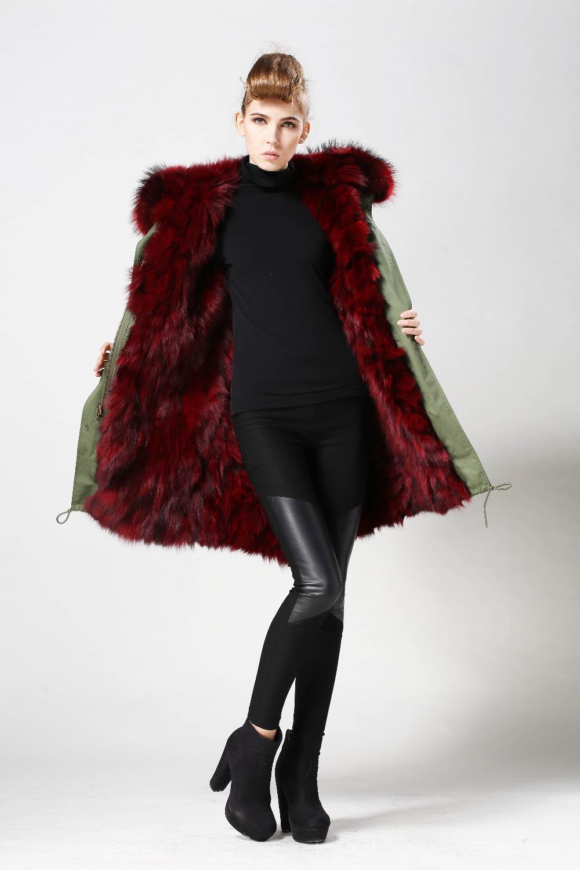 Wholesale Parka Coat Fox Fur Lining Wine Red Long Fur Coat In ...