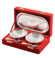 Beautuful & Useful 2 bowl 1 tray & spoon Set Online India / Brass Bowls Dish Tray Set