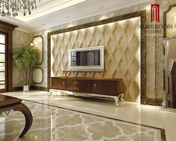 Italian Waterjet 3d Marble Carving Decorative Marble Wall