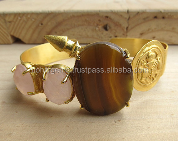 Brown Agate and Rose Pink Crystals Statement Cuff with Carved Gold Metal Coin and Bullet/Druzy Bracelet