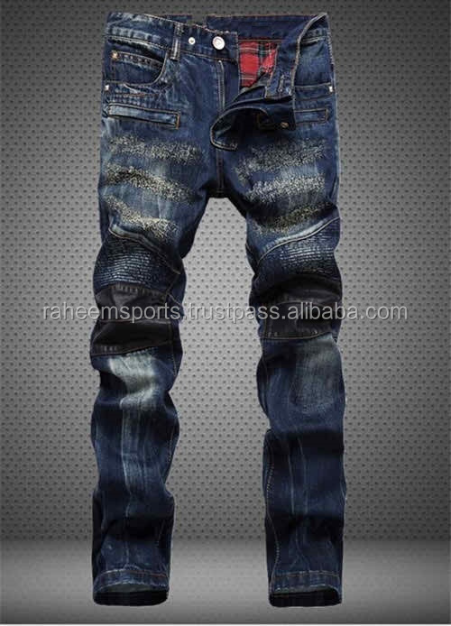 MEN FASHION SCRATCHED JEANS, LEATHER PATCHWORK