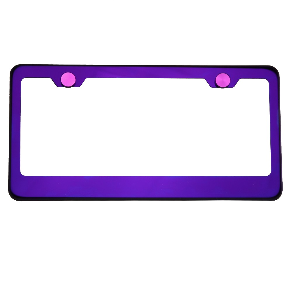 KA DEPOT T304 8k Polish Electrochemical Purple Chrome Stainless Steel License Plate Frame