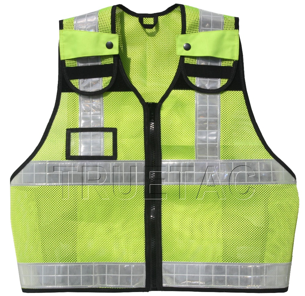 Hi Visibility Lime Yellow Floroscent Reflective Security Police Patrol Vests