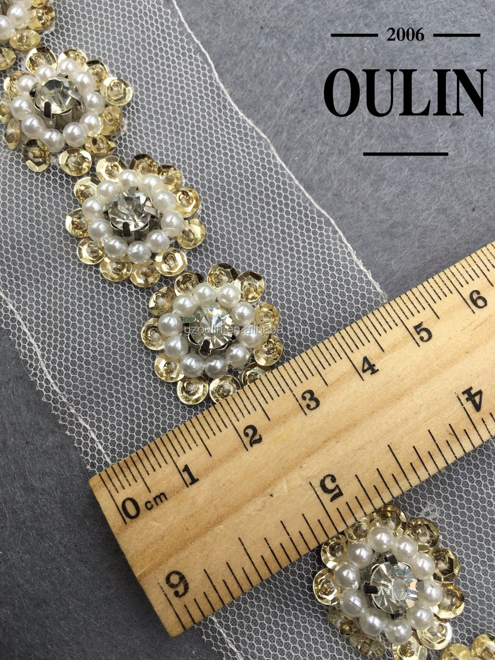 Beaded lace fabric textile lace fabric type rhinestone lace for garments