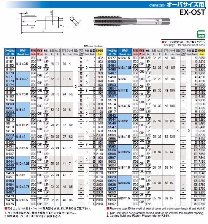 High quality Japan OSG cutting and threading tool straight fluted thread tap EX-OST for oversized
