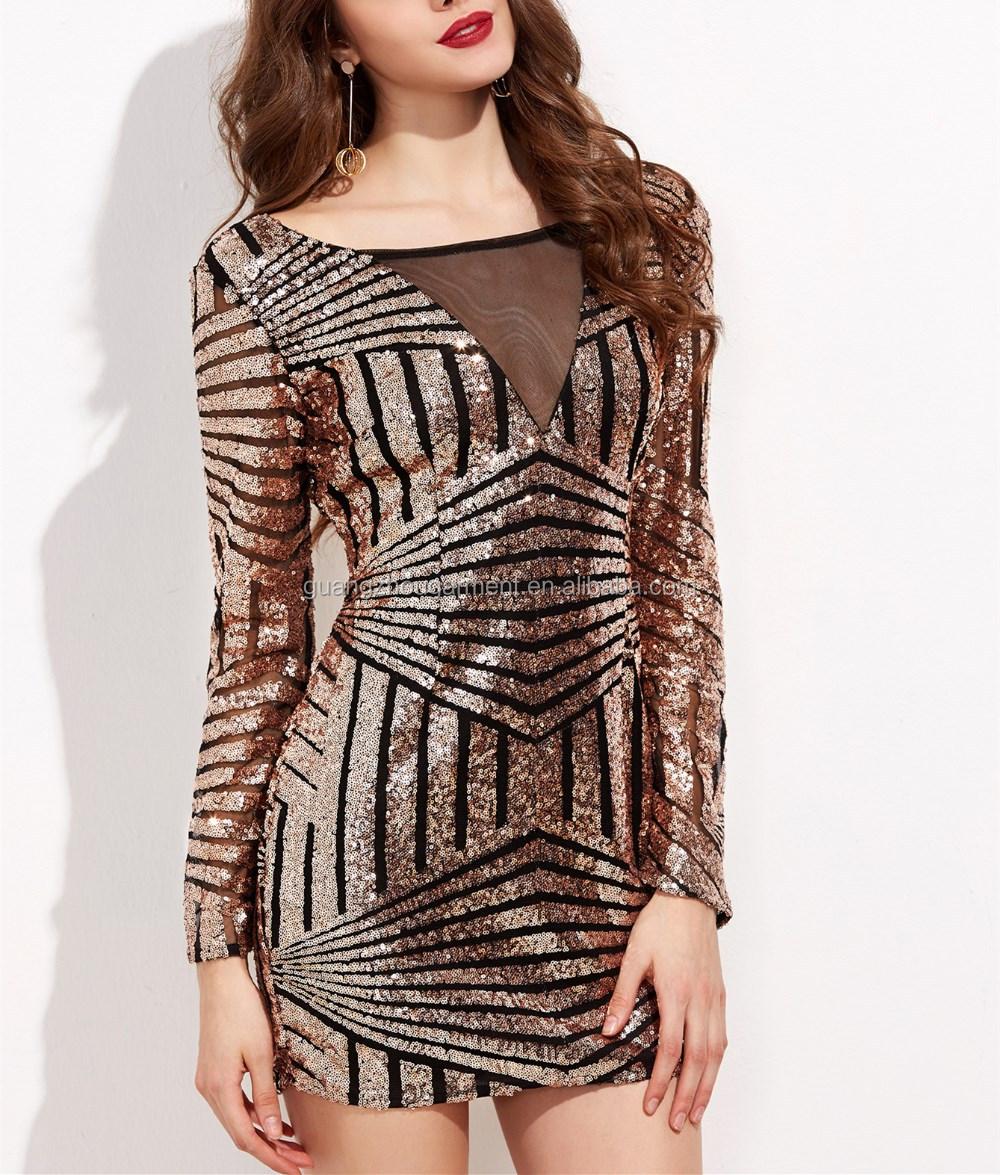 9821e6fae5d9 Gold Beaded Sequin Bodycon Dress - raveitsafe