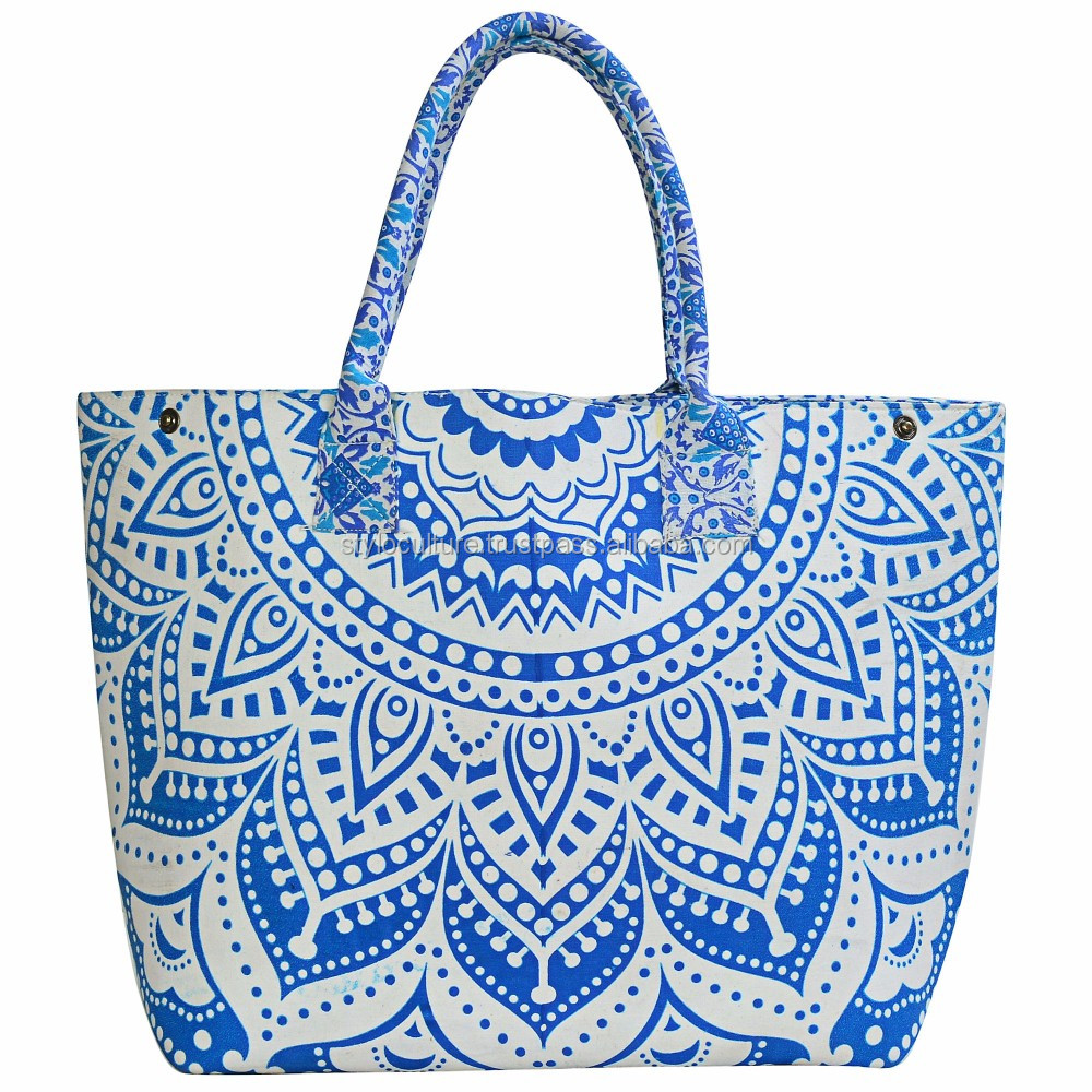 Indian Ombre Mandala Shopping Purse Handmade Cotton Beach Bag Large Tote Bag