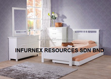 TRUNDLE BED,MALAYSIA FURNITURE,SINGLE BED WITH TRUNDLE PULL OUT
