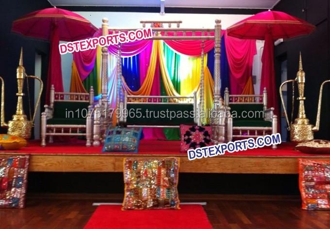 Punjabi Wedding Mehndi Stage Set Latest Design Mehandi Decoration Muslim New