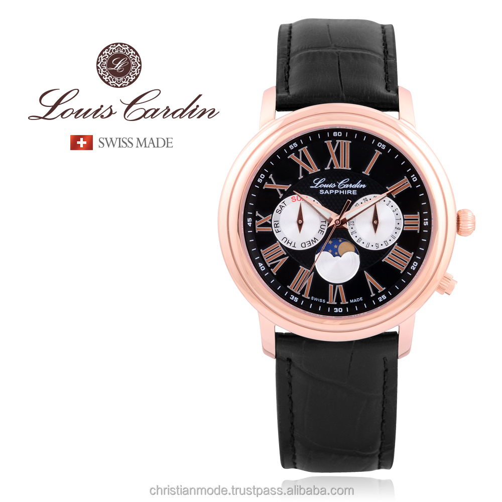 Louis Cardin Men's Moon Pase Swiss made watch Korea Design Sapphire Crystal