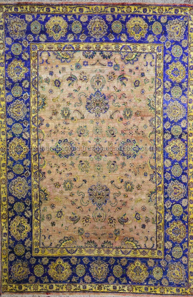 Indian Rugs Hand Woven Mughal Agra Design Sari Silk Traditional Look Hand Knotted 9 x 12 Area Rugs AB-137