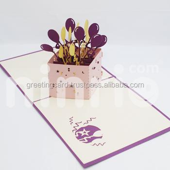 Balloons Box Pop Up Card Handmade Greeting