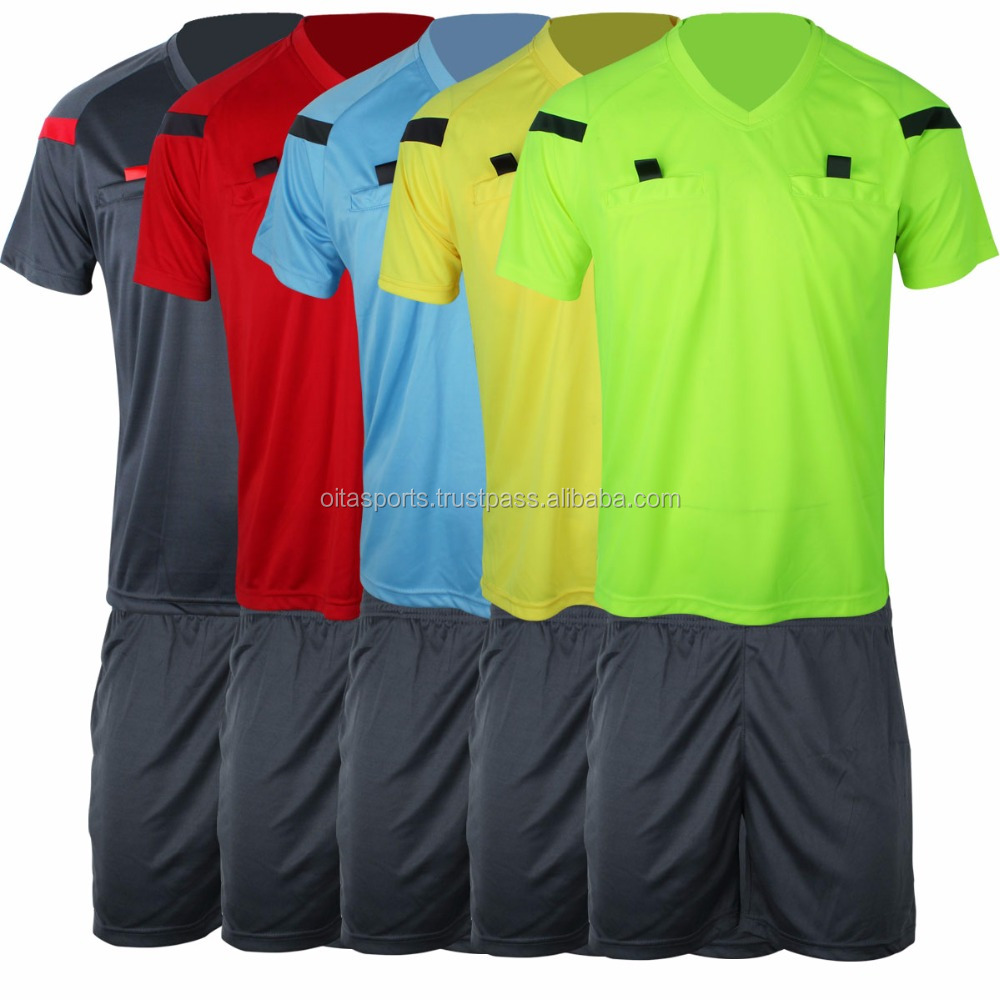 2014 World Cup Judge uniform professional soccer referee Uniform Football referee Jersey black yellow green blue